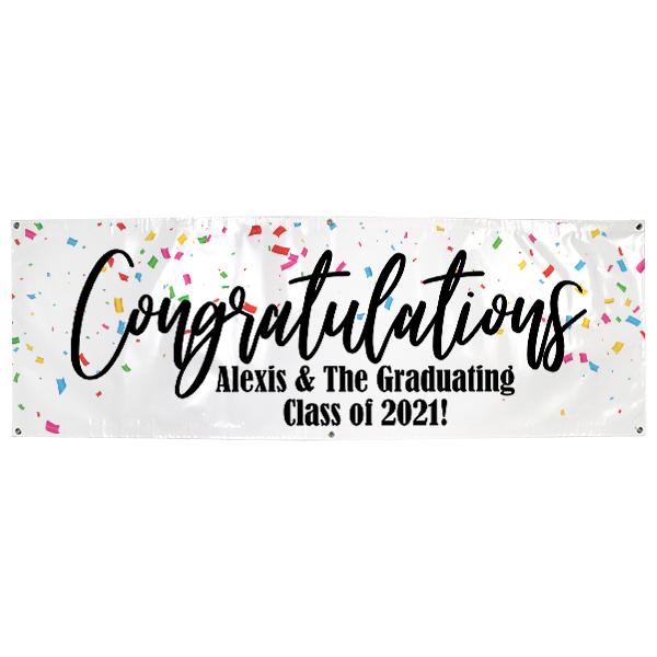 Personalized Confetti Graduation Banner | 2' x 6'