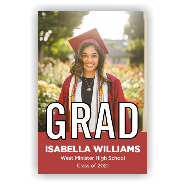 2021 Graduation Block Lettering Vertical Banner