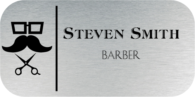 Barber Shop 2 Line Rounded Rectangle Hair Salon Name Tag