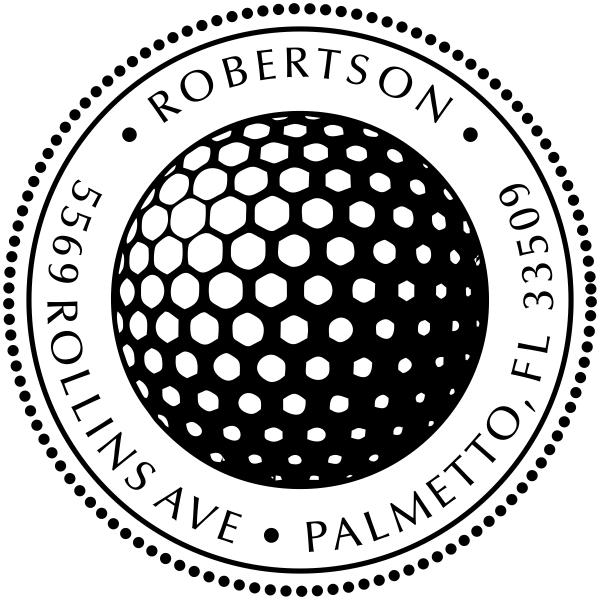 Golf Ball Round Address Stamp - Self-Inking