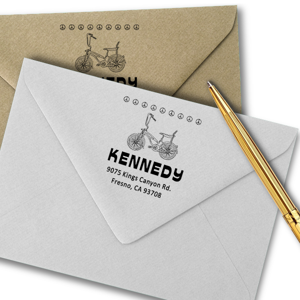 Kennedy 1970's Peace Bicycle Address Stamp Imprint Example