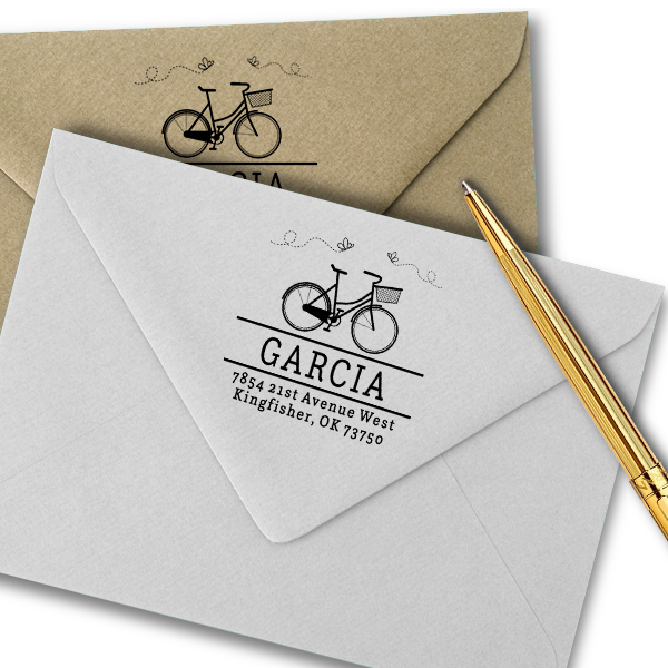 Garcia Bicycle Return Address Stamp Imprint Example