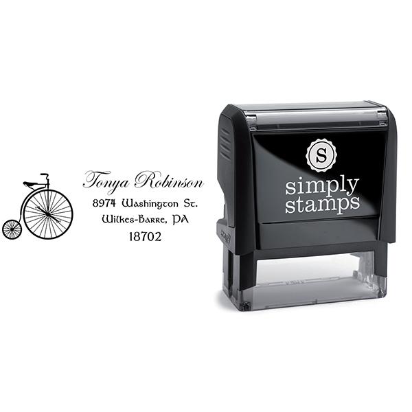 Robinson Vintage Bicycle Return Address Stamp Body and Design