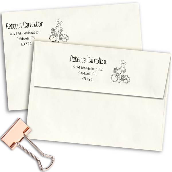 Carrolton Woman Bicycle Address Stamp Imprint Example