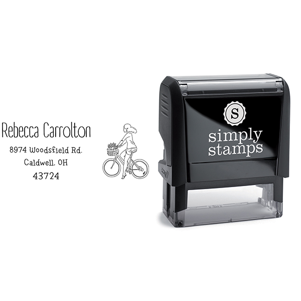 Carrolton Woman Bicycle Address Stamp Body and Design