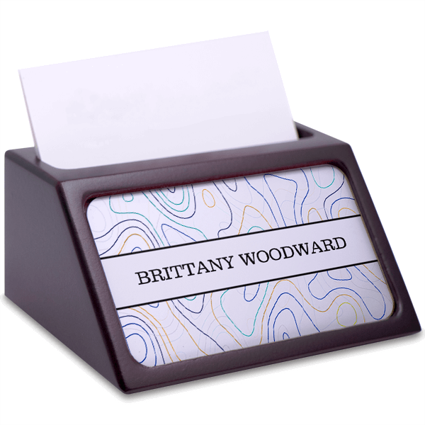 Topography Mahogany Business Card Holder with Full Color Insert