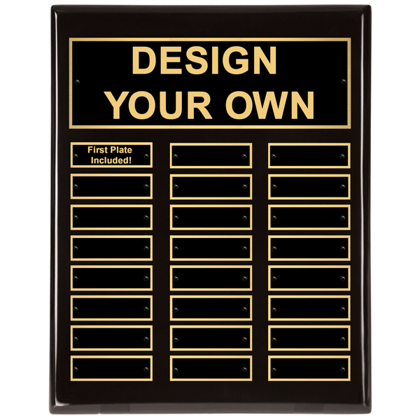 P5064 Perpetual 11x14 Black Plaque with 24 Engraved Plates