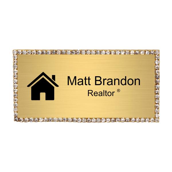 Bling Realtor Engraved Name Tag