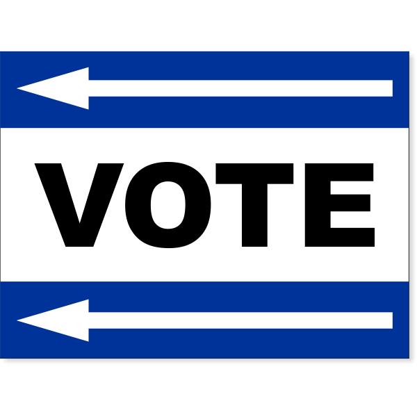 "Blue Vote Left Arrow Yard Sign | 18"" x 24"""