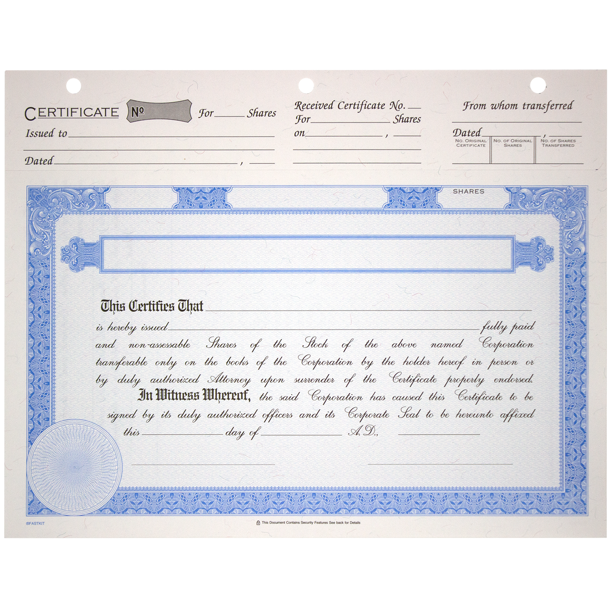 BLUTO 02 Blank Corporate Stock Certificates | Quantity of 20 or More