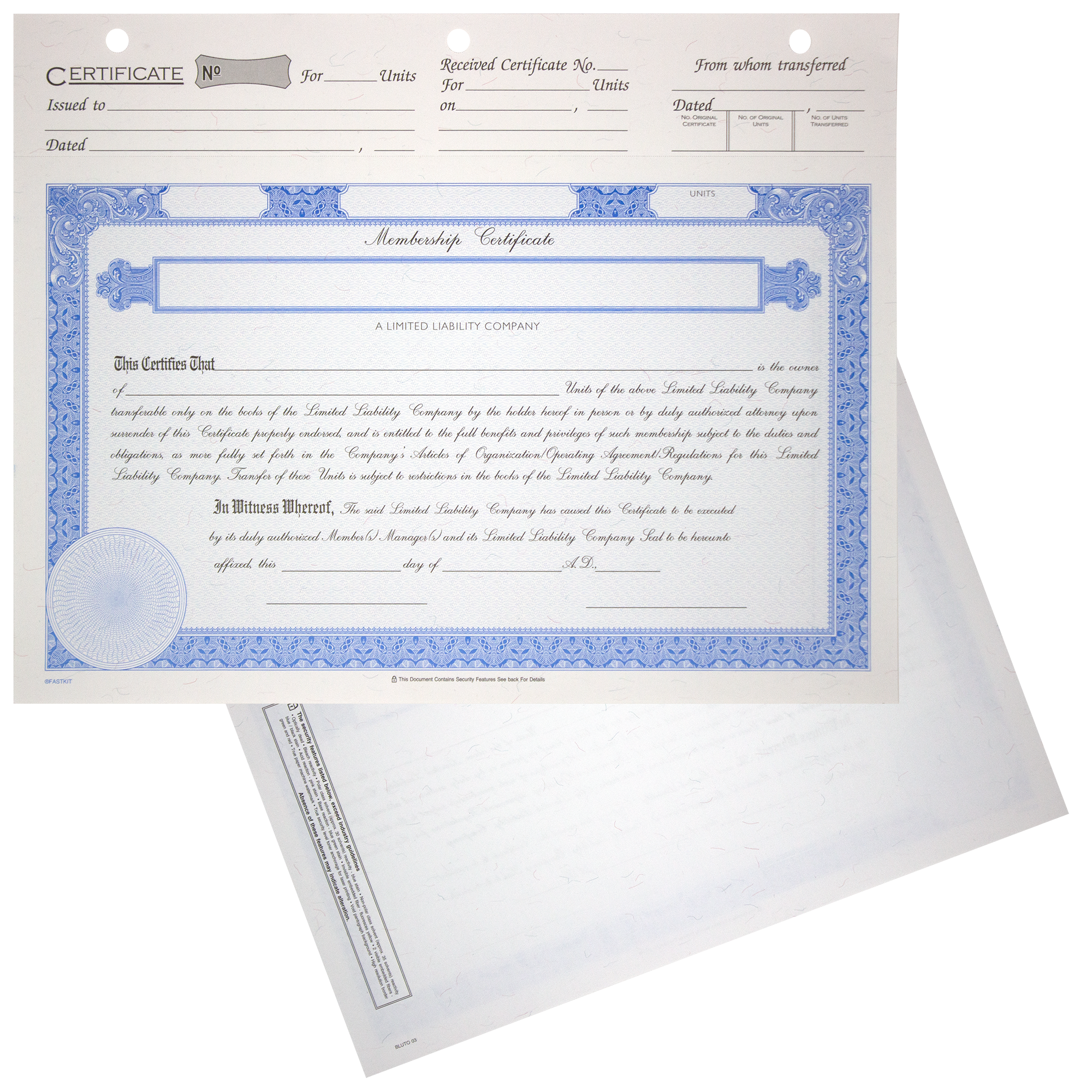 BLUTO 03 LLC Blank Membership Certificates | Quantity of 20 or More