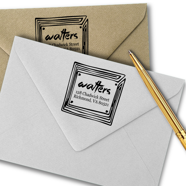 Maze Frame Square Return Address Stamp Imprint Example