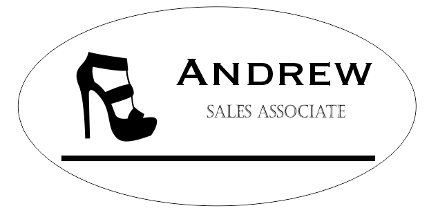 Shoe Store 2 Line Oval Name Badge