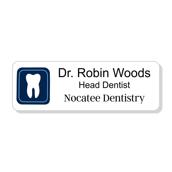 Boxed Tooth Dentist Name Tag
