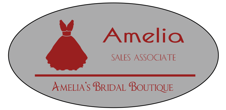 Bridal Store 3 Line Oval Name Tag