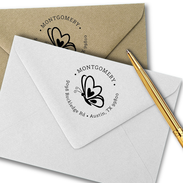Butterfly Hearts Return Address Stamp Imprint Example