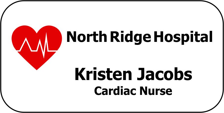 Cardiac Nurse Rectangle Name Badge