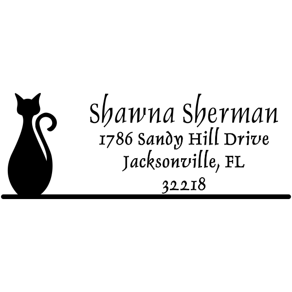 Bottle Shape Cat Address Stamp