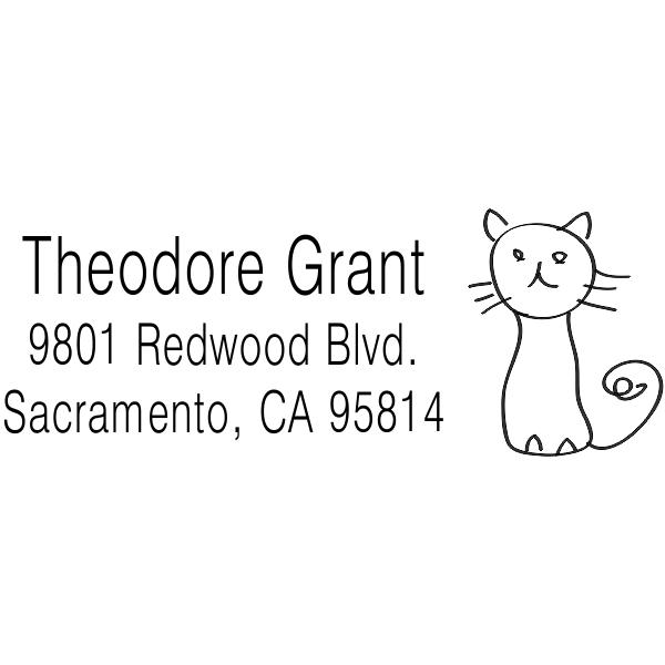 Hand Drawn Cat Address Stamp