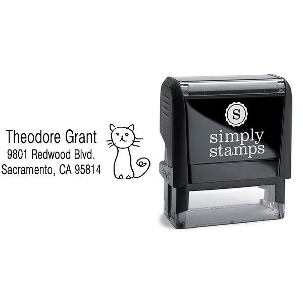 Hand Drawn Cat Address Stamp Body and Design