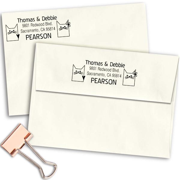 Block Pair Cats Address Stamp Imprint Example