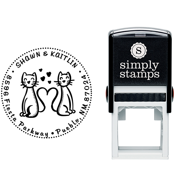 Heart Tail Cats Address Stamp Body and Design