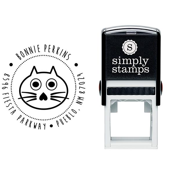 Big Eyed Cat Address Stamp Body and Design