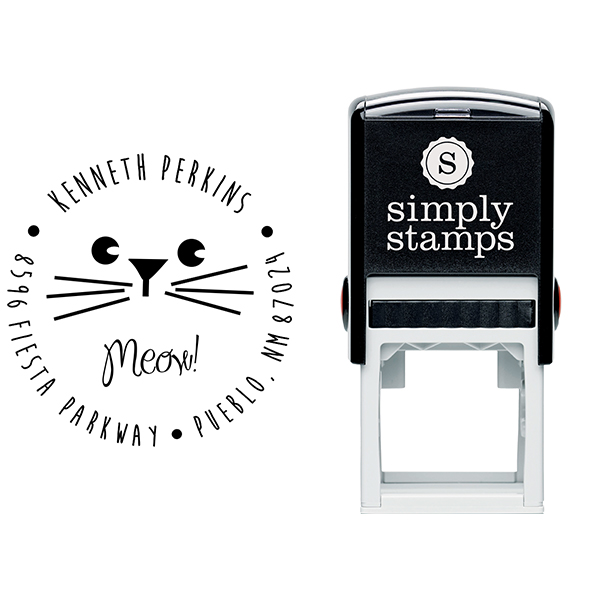 Meow Boy Cat Address Stamp Body and Design