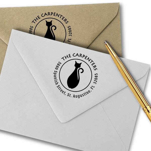 Bottle Shape Cat Round Address Stamp Imprint Example