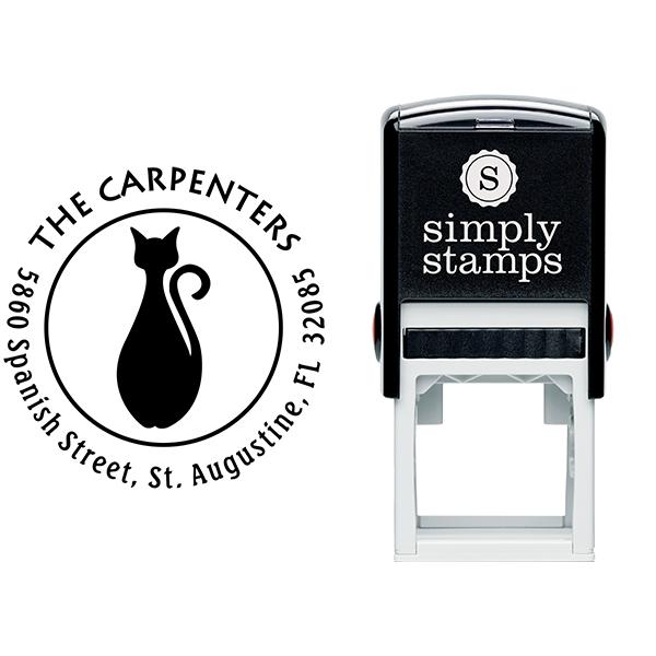 Bottle Shape Cat Round Address Stamp Body and Design