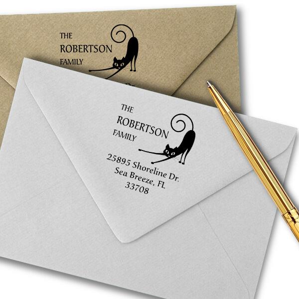 Spastic Cat Address Stamp Imprint Example