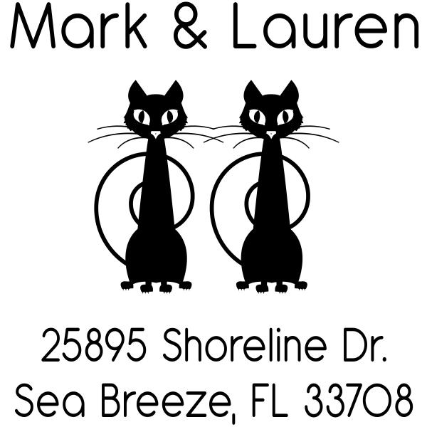 Duo Cats Custom Return Address Stamp