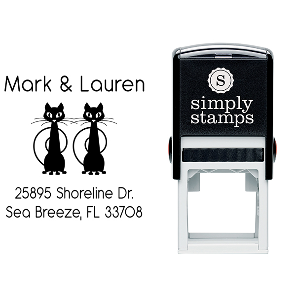 Mischevious Duo Cats Address Stamp Body and Design