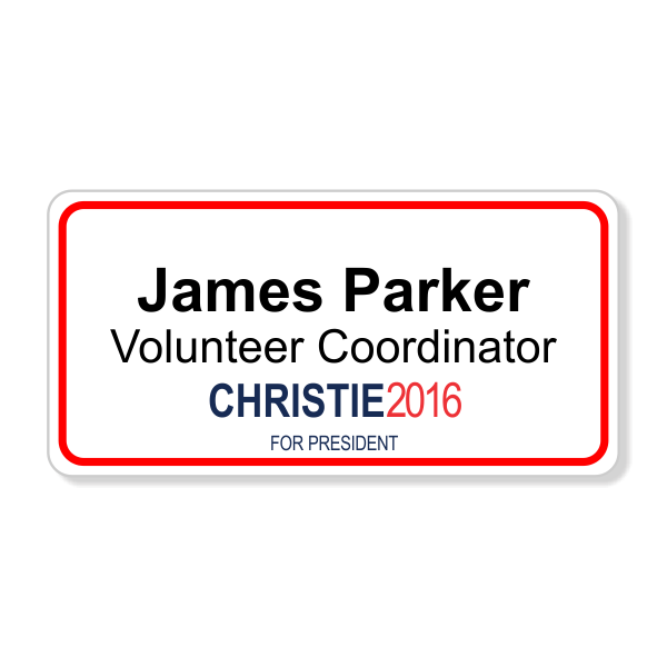 Chris Christie Presidential Name Tag