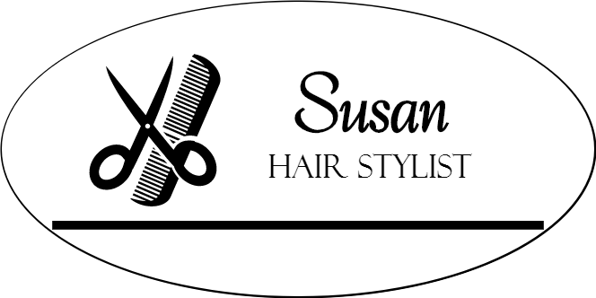 Comb and Scissors 2 Line Oval Hair Salon Name Tag