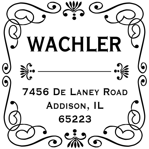 Wachler Curves Square Address Stamp