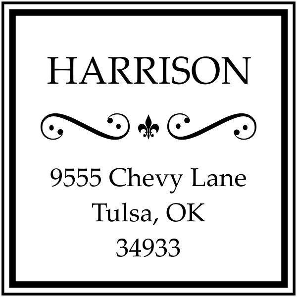 Harrison Curves Square Address Stamp