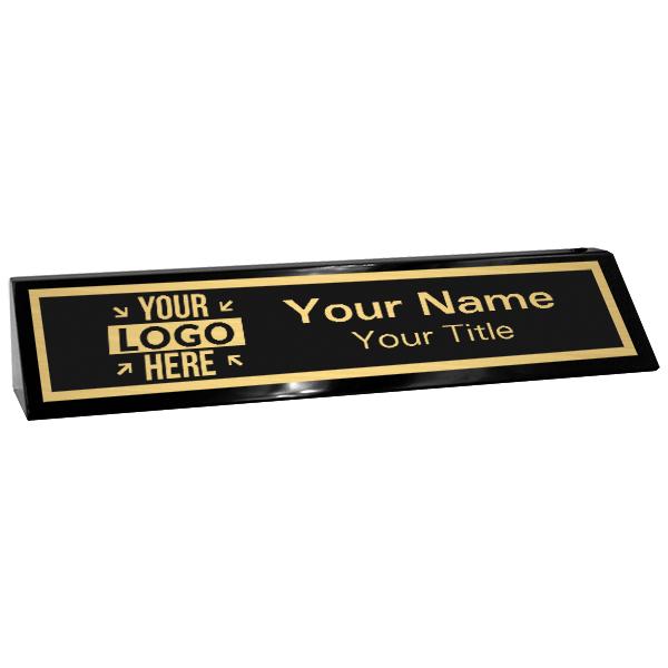 "Custom Black Desk Wedge with Black Plate and Logo | 2"" x 10"""