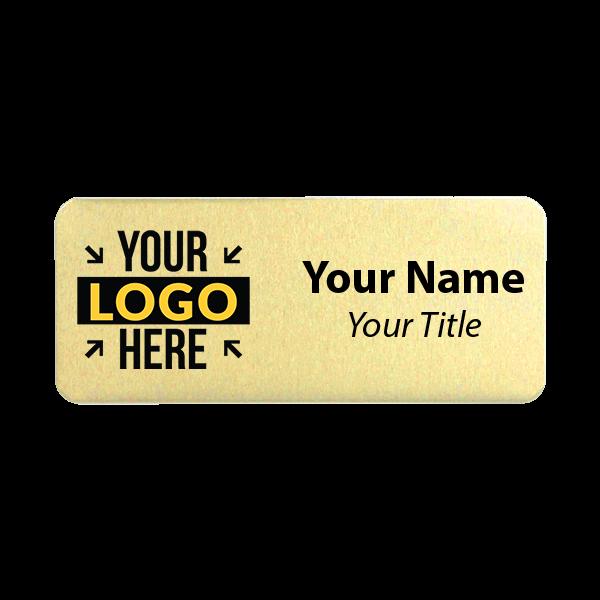 Custom Brushed Gold Name Tag - 1.25 x 3