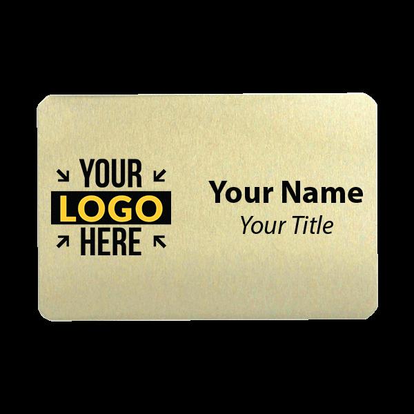 Custom Brushed Gold Name Tag - 2 x 3
