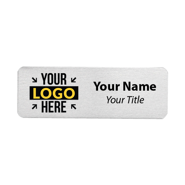 Custom Brushed Aluminum Name Tags - 1 x 3