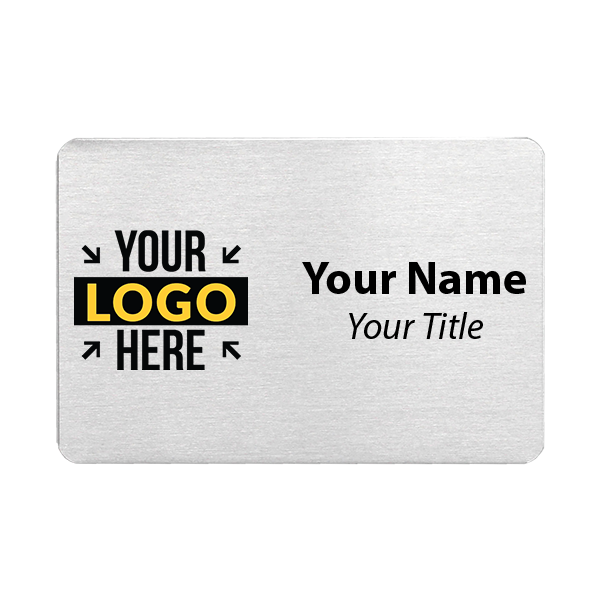 Custom Brushed Aluminum Name Tags - 2 x 3