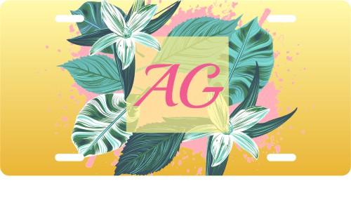 Tropical Leaf & Flower Monogram License Plate