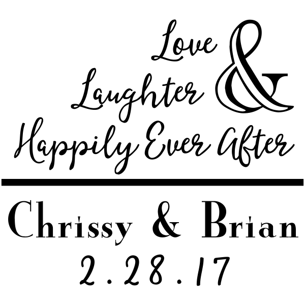 "Custom Names ""Love & Laughter"" Wedding Craft Stamp"