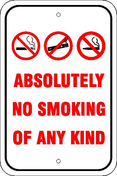 Custom No Smoking, E-Cig, Vaping Aluminum Sign