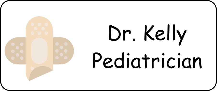 Custom Pediatrician Rectangle Name Badge