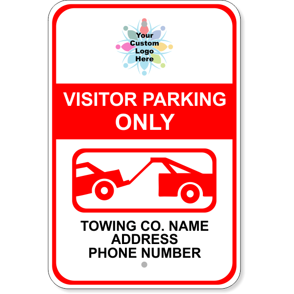 """Custom Visitor Parking Only Tow Away Aluminum Sign 