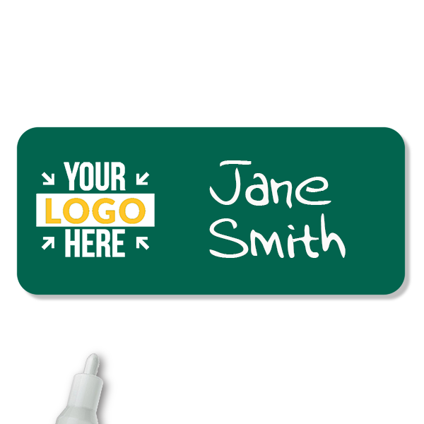 Customized 1.5 x 3.5 Chalkboard Reusable Name Tag - Example