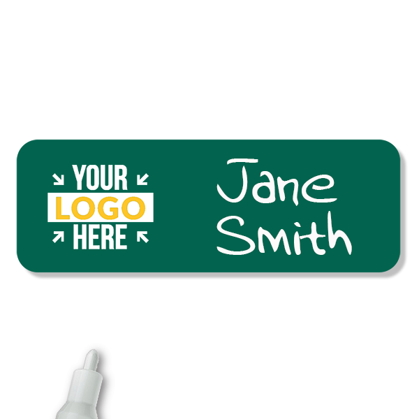 Customized 1 x 3 Chalkboard Reusable Name Tag - Example