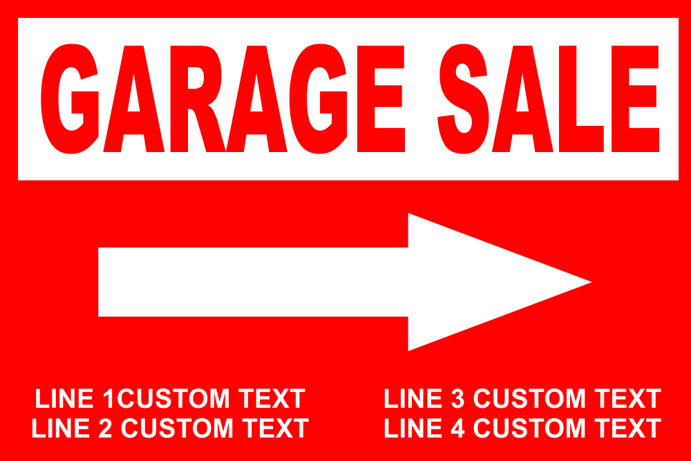 Customizable Garage Sale Sign with Arrow